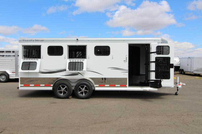2019 Trails West Sierra Select 4 Horse Trailer - Vacuum Bonded Aluminum Construction - 2 Drop Down Tail Side Windows