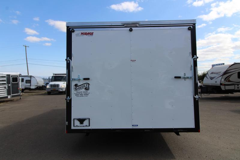 2019 Mirage Trailers Xpres 8.5x22 Car / Racing Trailer - Tandem Axle - Flat roof - V Nose - Crystal white exterior - Rear ramp door - Interior spare tire and tire mount