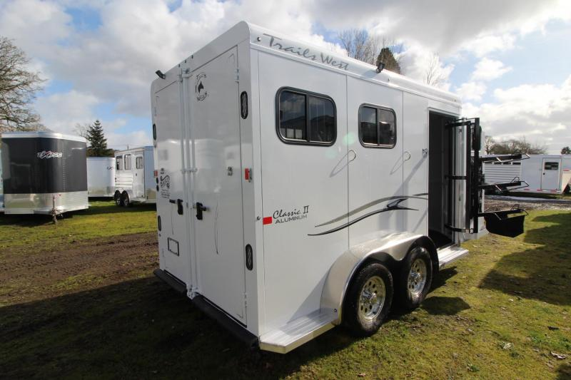 "2018 Trails West Classic II 7'6"" Tall 2 Horse Trailer - Aluminum Skin Steel Frame"