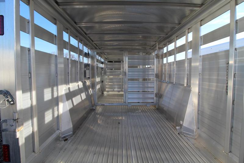 """2019 Featherlite 8127- 24ft Long 6'6"""" Tall 7'6"""" Wide Livestock Trailer 2 divider gates with sorting doors"""