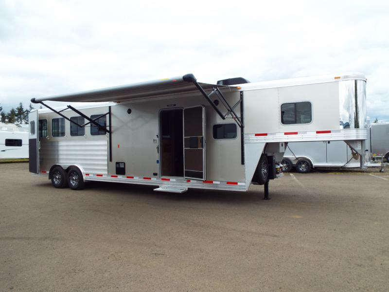 "2017 Exiss 8410 10 ft LQ 4 Horse Trailer - All Aluminum - 7'8"" Tall - Mangers - Stud  Wall- NEW EASY CARE FLOORING - TOTAL PRICE REDUCTION OF $4300 in Garibaldi, OR"