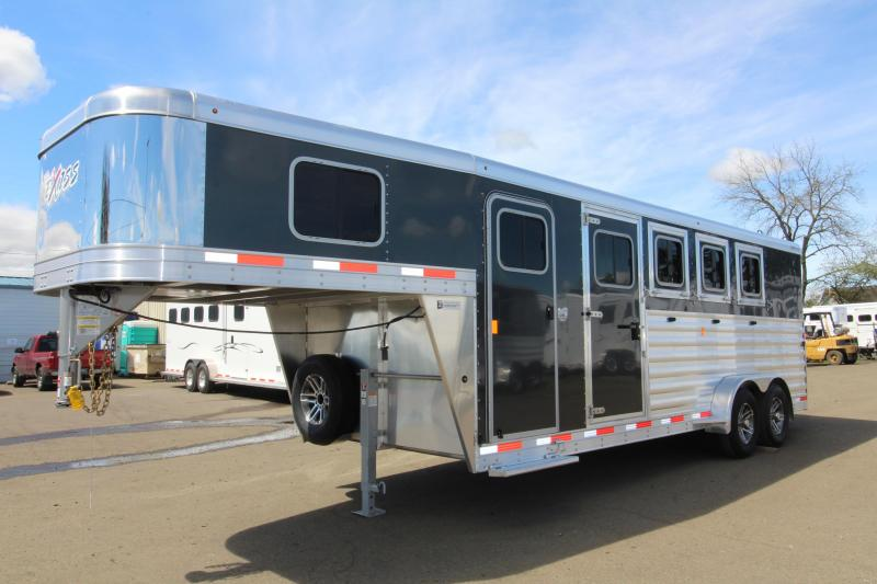 """2019 Exiss 7400 - 4 Horse Gooseneck Trailer - Easy Care Flooring - Front and Rear Tack Rooms - Black Exterior Color - Stud Wall - All Aluminum - First Stall Escape Door - 7'2"""" Tall"""