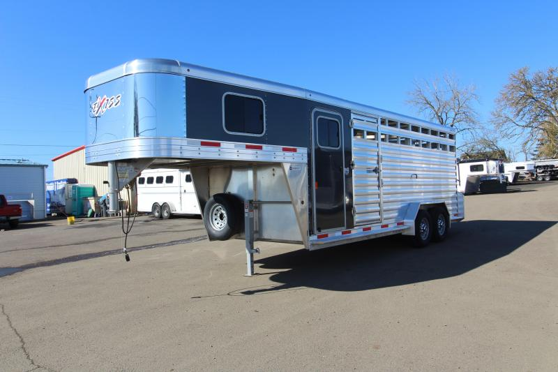 "2019 Exiss 7020 Stock Combo - 4 ft Enclosed Tack Room - All Aluminum Livestock Trailer - 7'2"" Tall - Solid Center Divider Gate - Rear Gate with Slider"
