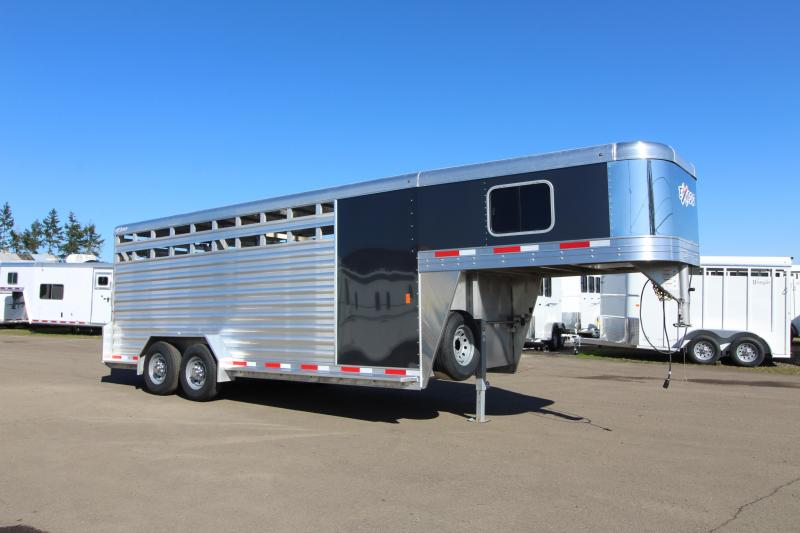 """2019 Exiss 7020 Stock Combo - 4 ft Enclosed Tack Room - All Aluminum Livestock Trailer - 7'2"""" Tall - Solid Center Divider Gate - Rear Gate with Slider"""