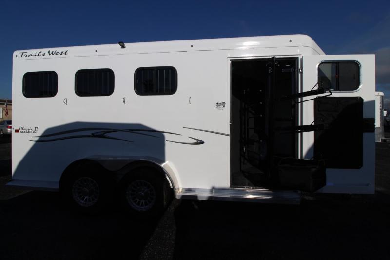 "2019 Trails West Classic II 7' 6"" Tall 3 Horse Trailer Aluminum Skin Steel Frame"