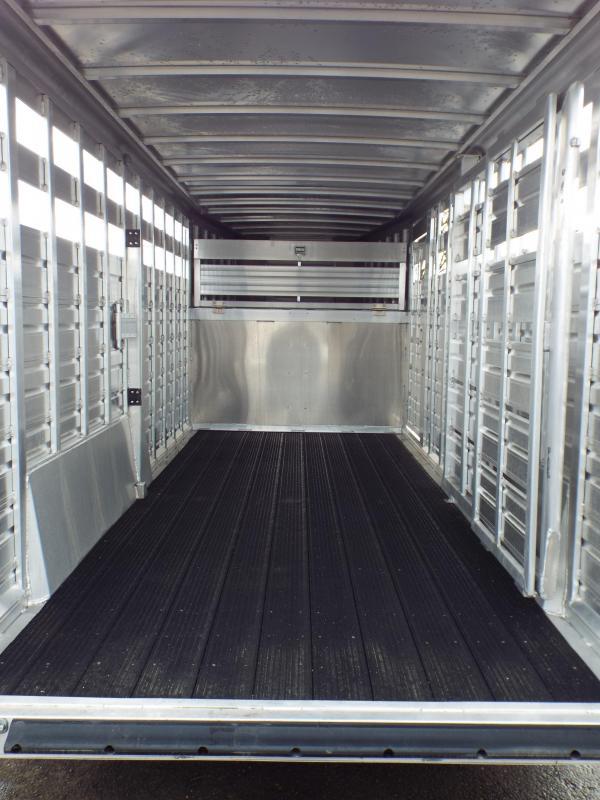 2017 Featherlite 8127 18' Aluminum 7' Wide and Tall -  Stock Trailer - Quiet Ride Flooring - Gooseneck Access Door!