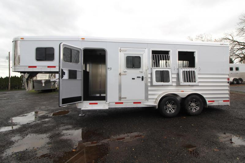 "2018 Exiss 7300 - 7' 6"" Tall - Escape Door - Rear Tack - Polylast Flooring - Jail Bar Dividers - 3 Horse Trailer"