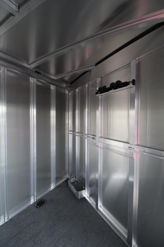 """2018 Exiss 7300 - 7' 6"""" Tall - Escape Door - Rear Tack - Polylast Flooring - Jail Bar Dividers - 3 Horse Trailer"""