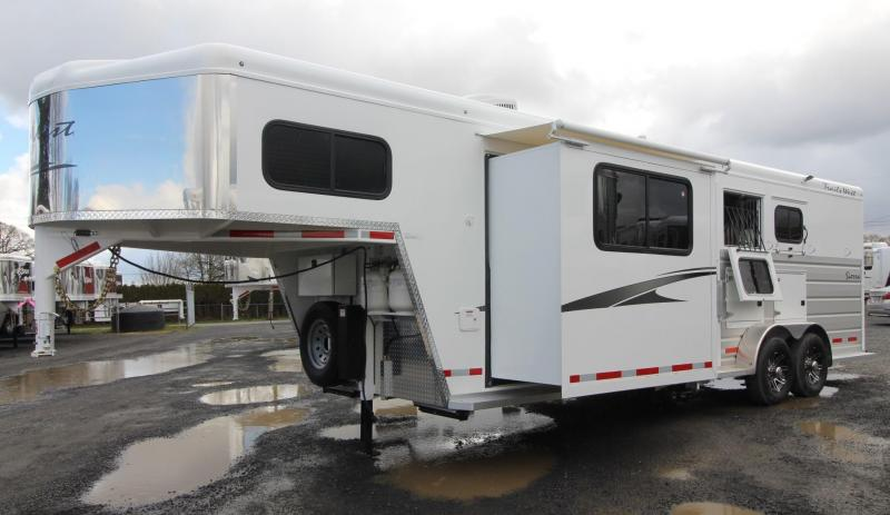 2019 Trails West Sierra 8x13 W/ Slide - 3 Horse Living Quarters Trailer