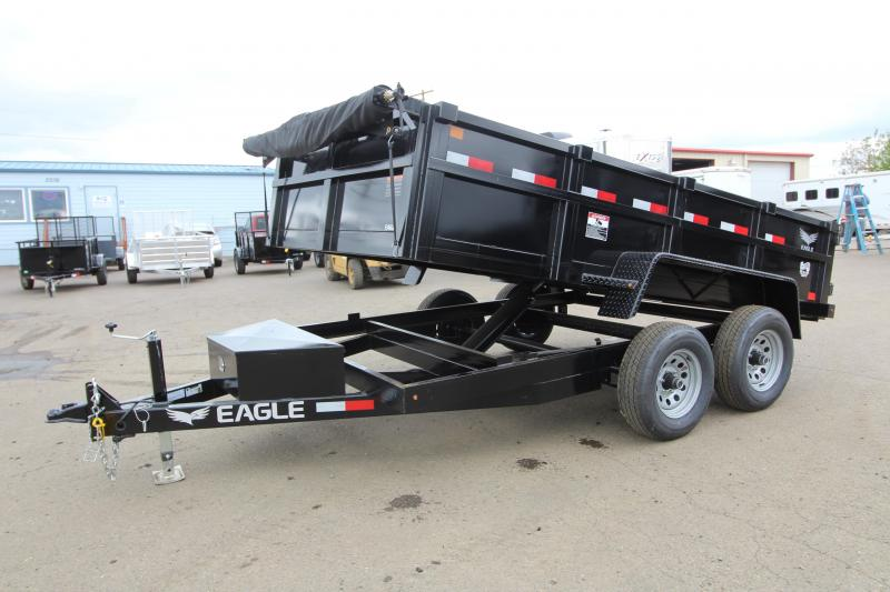 2019 Eagle 7x12 Dump Trailer with Mesh Roll Tarp - Tandem 7000# axles - Trailer brakes on both axles -  Spare tire included - Lockable tongue box - Trickle charge line from tow vehicle - Plug in battery charger - PRICE REDUCED