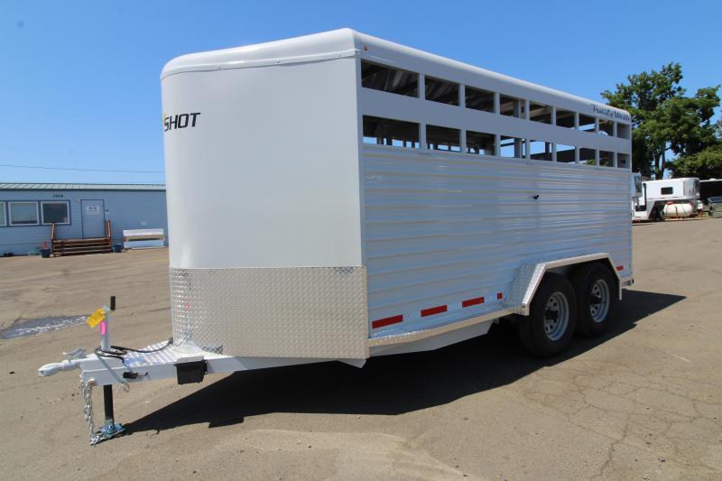 2020 Trails West Hotshot 17' Livestock Trailer - UPGRADED Center Gate w/ Slider - Slider in Rear Gate