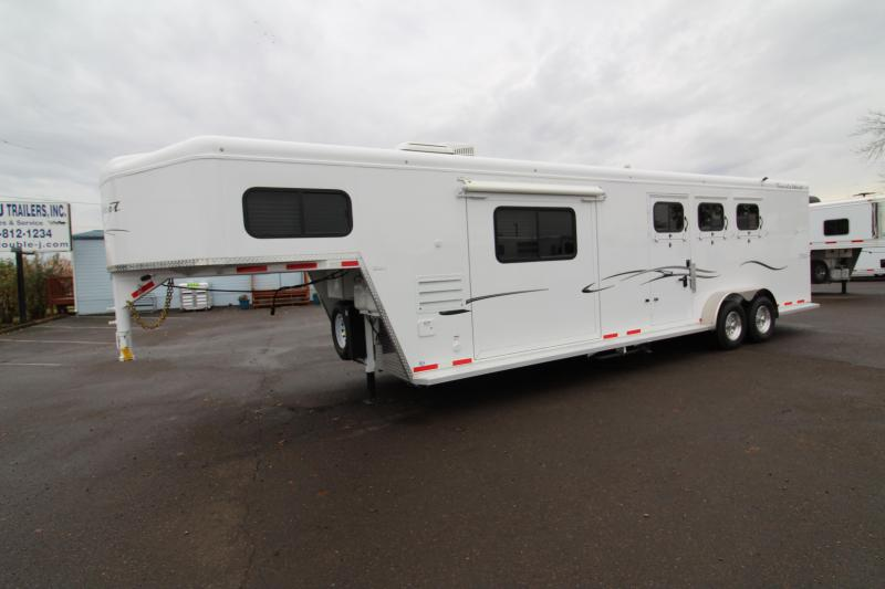 2018 Trails West Classic 12x12 Living Quarters 3 Horse Trailer W/ Slide out - Hoof Grip Easy Care Flooring - Side Tack - Escape Door