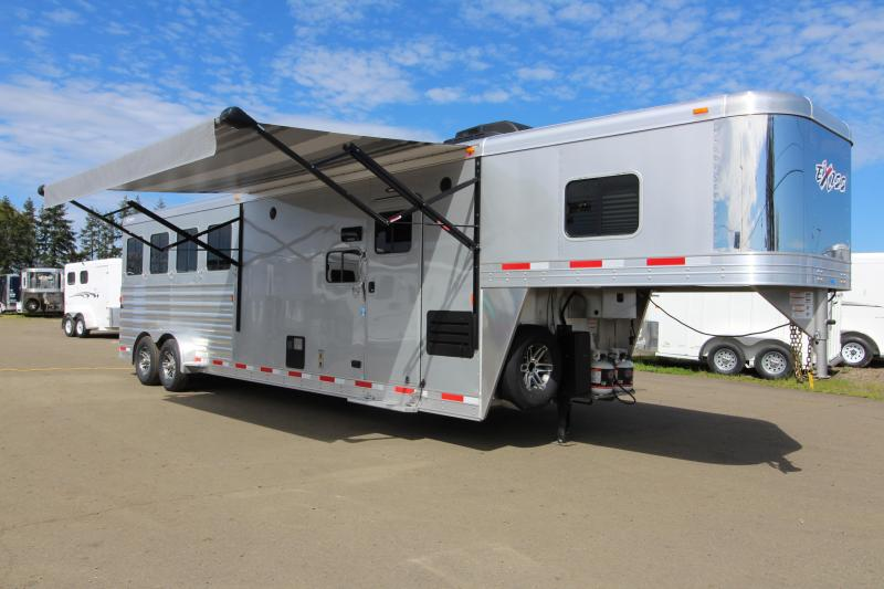 2019 Exiss Trailers 7410 - 10' SW LQ with Slide Out 4 Horse All Aluminum Trailer - Easy Care Flooring Upgrade - Upgraded Interior - Metallic Gray Exterior Skin
