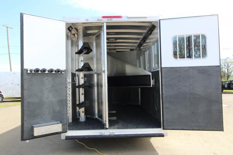 2019 Exiss 7410 - 10' SW LQ with Slide Out 4 Horse All Aluminum Trailer - Easy Care Flooring Upgrade - Upgraded Interior - Dinette - Metallic Gray Exterior Skin