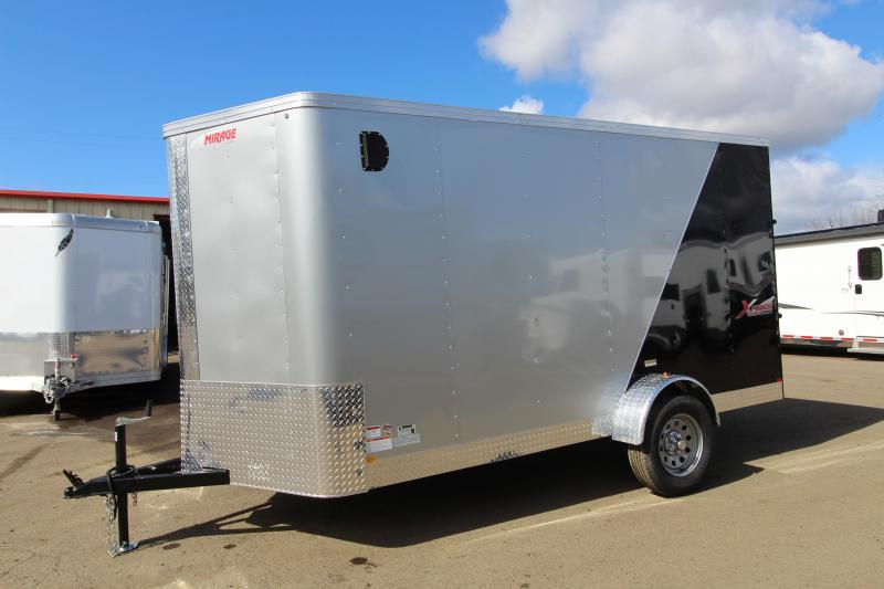 2019 Mirage X-Pres 6 x 12 Enclosed Cargo Trailer - With Rear Ramp - Diamond Ice and Black Exterior -
