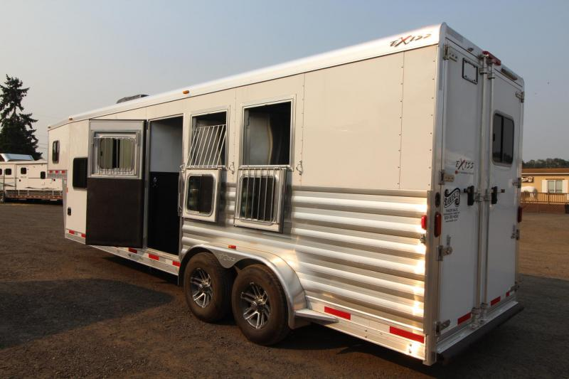 """2017 Exiss Escape 7310 - 10' Short wall - 7'8"""" Tall - Solid Wood Interior Upgrade + Many More!  Escape Door and Stud Panel - 3 Horse Trailer"""