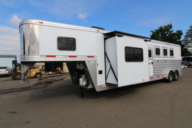 2018 Exiss 7410 10' SW LQ  with Slide Out - 4 Horse All Aluminum Trailer - Easy Care Flooring