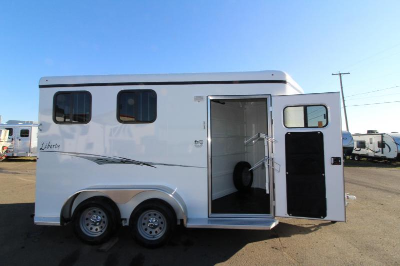 "2019 Thuro-Bilt Liberty 2 Horse Trailer - 7'6"" Tall - Drop Down Windows - Swing Out Saddle Rack -"