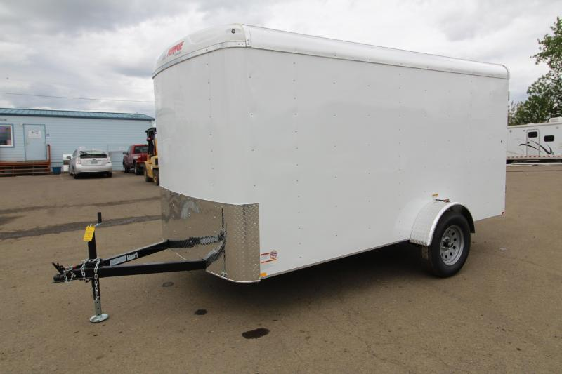 "2019 Mirage XCEL- 6 x 12 Enclosed Cargo Trailer - Double Rear Camlock style doors - White exterior skin - Barlock curbside mandoor -  24"" Starbright stoneguard - Radius front - Domed roof- and LED domelights"