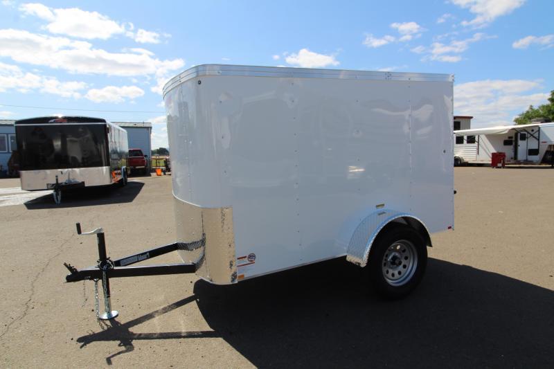 2019 Mirage Xpo 5x8 Enclosed Cargo Trailer - Flat top - Radius front - Single axle- Crystal white exterior - Single barlock style Rear door