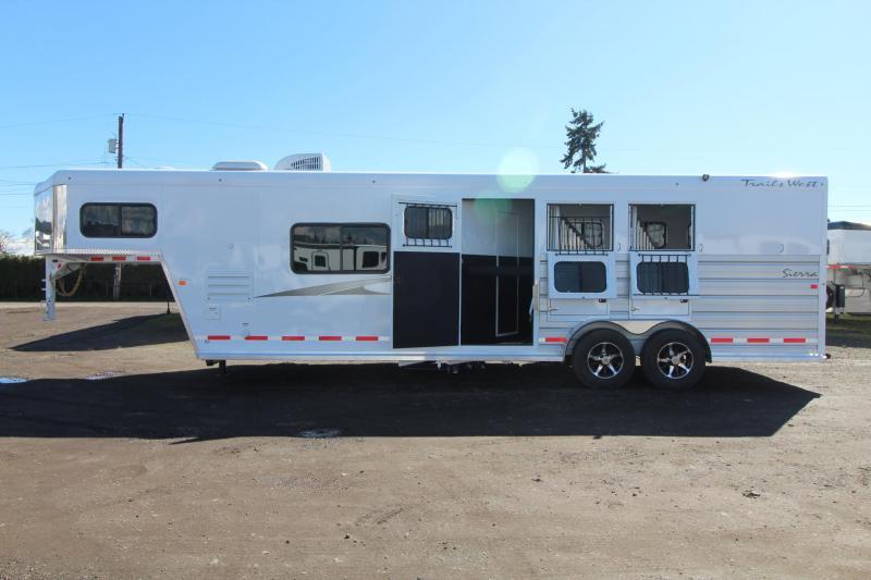 2018 Trails West Sierra 10x15 Living Quarters 3 Horse Trailer - Aluminum Skin Steel Frame