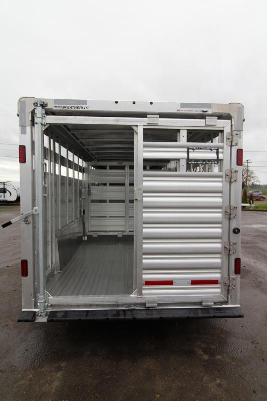 2019 Featherlite 8127 Stock Trailer 20' - All Aluminum - Center Gate with Slider - Rear Gate with Slider -