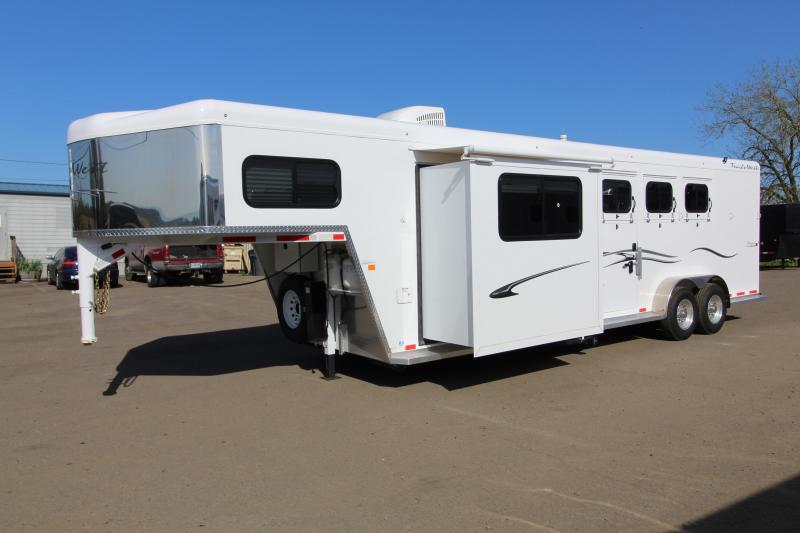 "2018 Trails West 3 Horse Classic Specialite 8' SW LQ w/ Slide Out 3 Horse  - Rear Tack - 7'6"" Tall - Escape Door - Pass Though Door - Steel Frame Aluminum Skin - Easy Care Flooring"