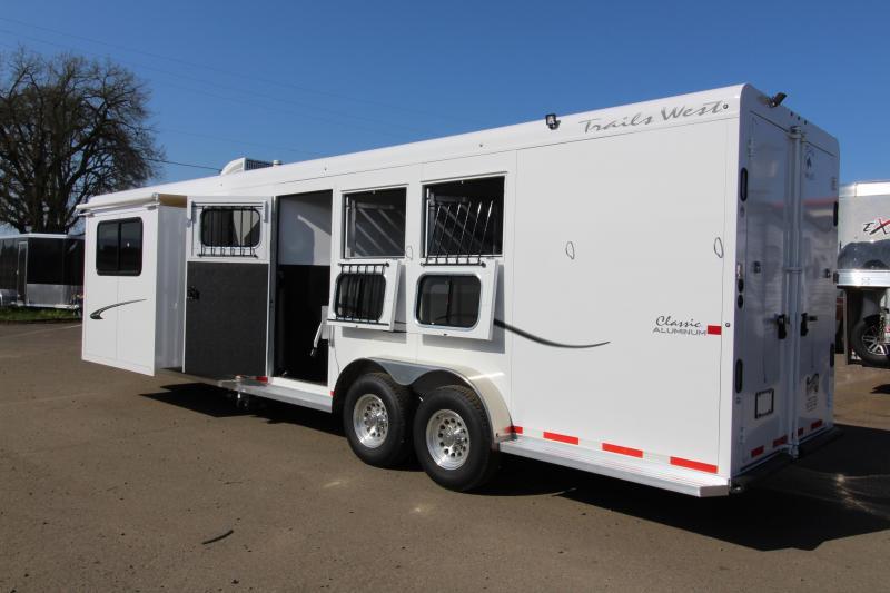 """2018 Trails West 3 Horse Classic Specialite 8' SW LQ w/ Slide Out 3 Horse  - Rear Tack - 7'6"""" Tall - Escape Door - Pass Though Door - Steel Frame Aluminum Skin - Easy Care Flooring"""