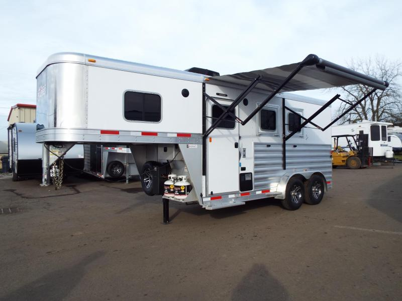"2017 Exiss 7204 - 4'6"" SW LQ 2 Horse All Aluminum Trailer - Power Awning - Stud Wall $5000 LESS THAN A 2019!"