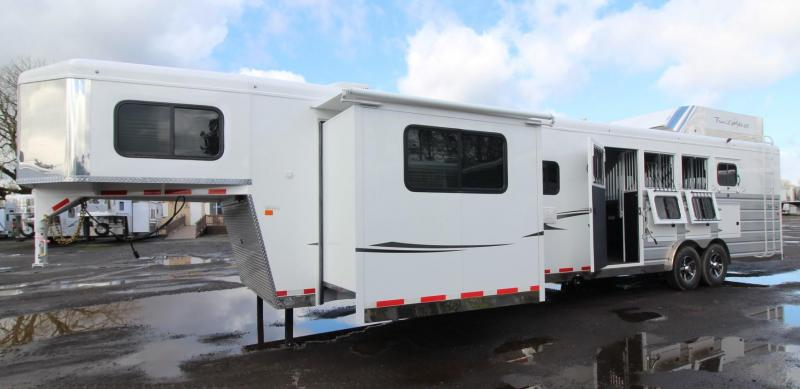 2018 Trails West Sierra 15x19 Premium Interior Upgrade LQ w/ slide out - Couch & Dinette - 4 Horse Trailer