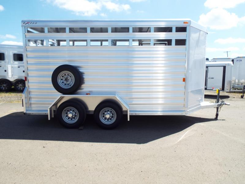 "2017 Exiss 713 - Price Reduced- 13' Floor Length - All Aluminum Livestock Trailer - 7'2"" Tall - Solid Center Gate - Full Swing Rear Gate with Slider"
