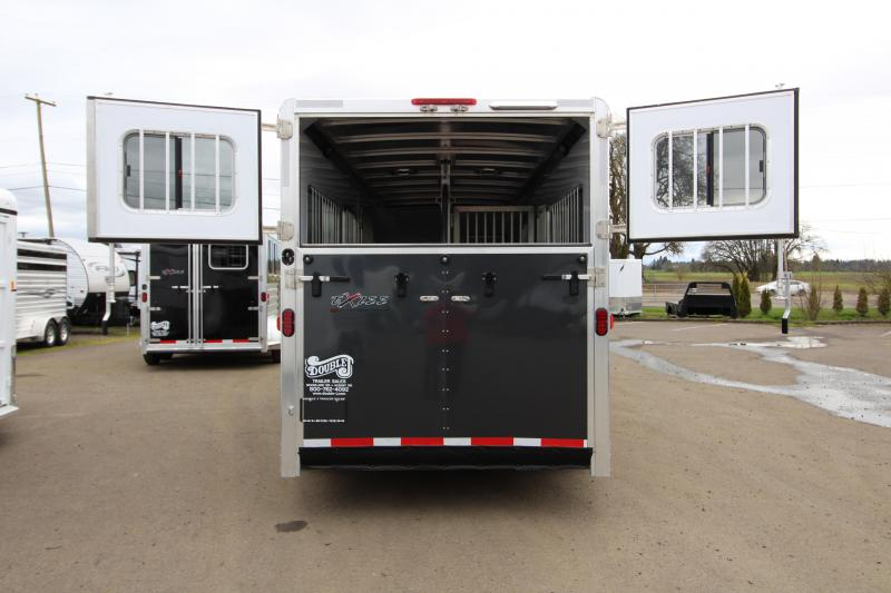 2018 Exiss Trailers 7200 SR - 2 plus 1 Horse Trailer - with Rear and Side Ramps - Metallic Black Exterior Color - REDUCED PRICE