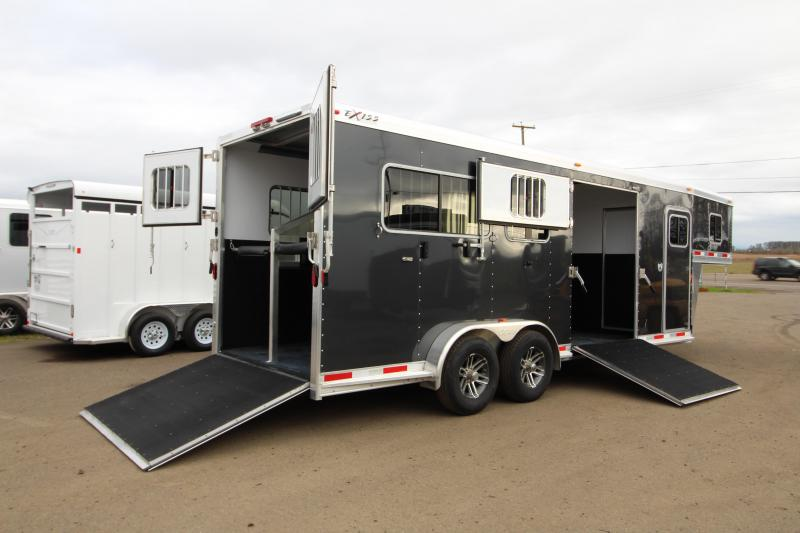 2018 Exiss Trailers 7200 SR - 2 plus 1 Horse Trailer - with Rear and Side Ramps - Metallic Black Exterior Color