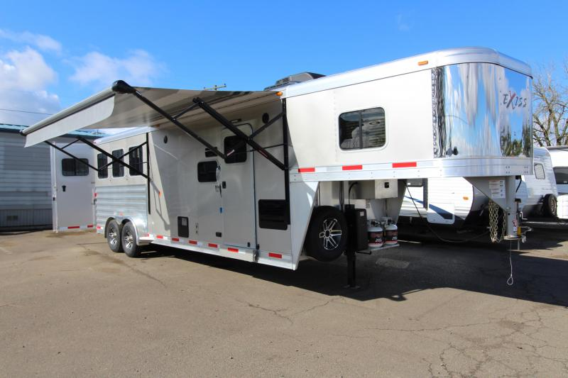 """2018 Exiss 7310 10' SW LQ  with Slide Out - 3 Horse All Aluminum Trailer - 7'8"""" Tall - Power Awning - Aluminum Wheels - Easy Care Flooring - Upgraded Interior Features"""