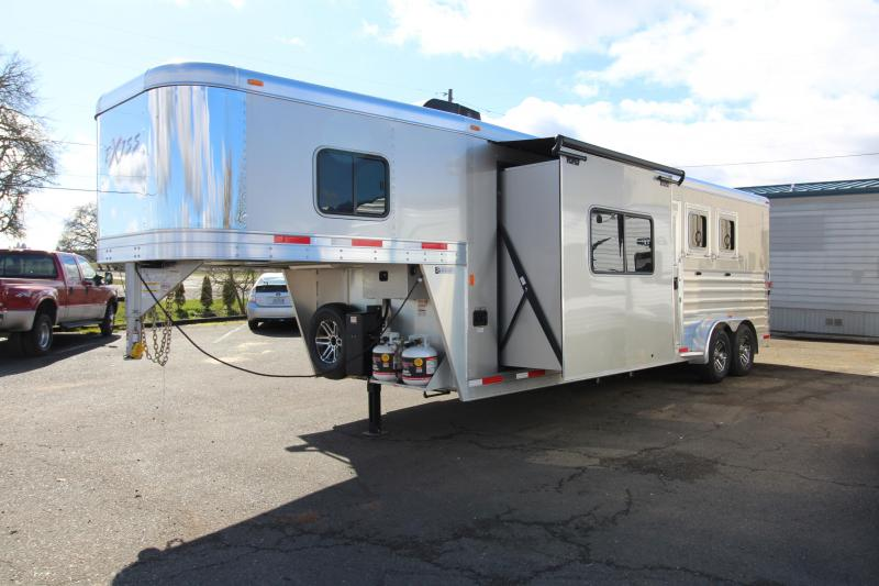 "2018 Exiss 7310 10' SW LQ  with Slide Out - 3 Horse All Aluminum Trailer - 7'8"" Tall - Power Awning - Aluminum Wheels - Easy Care Flooring - Upgraded Interior Features"