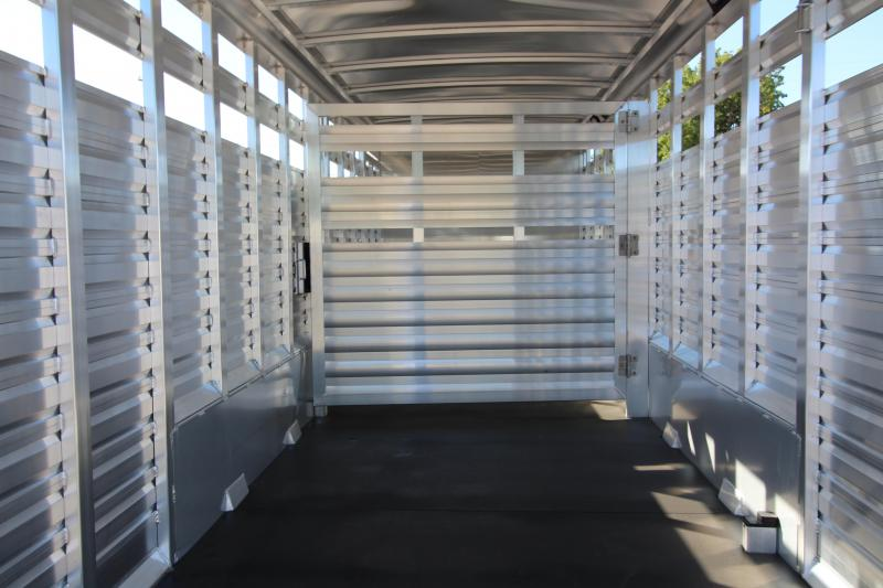 "2019 Exiss 7024 Stock Combo - 4 ft Enclosed Tack Room - All Aluminum Livestock Trailer - 7'2"" Tall - Solid Center Divider Gate - Rear Gate with Slider"