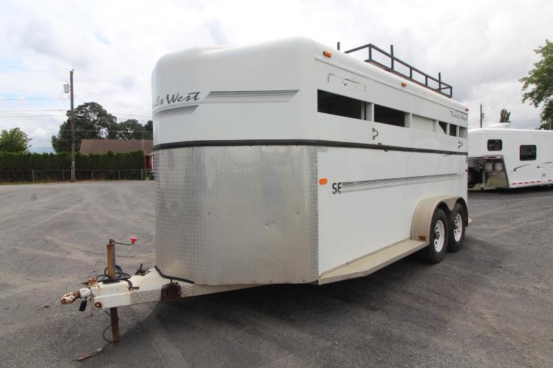 2002 Trails West Santa Fe 3 Horse Trailer w/ Hay rack & TieRite Hi-Tie system