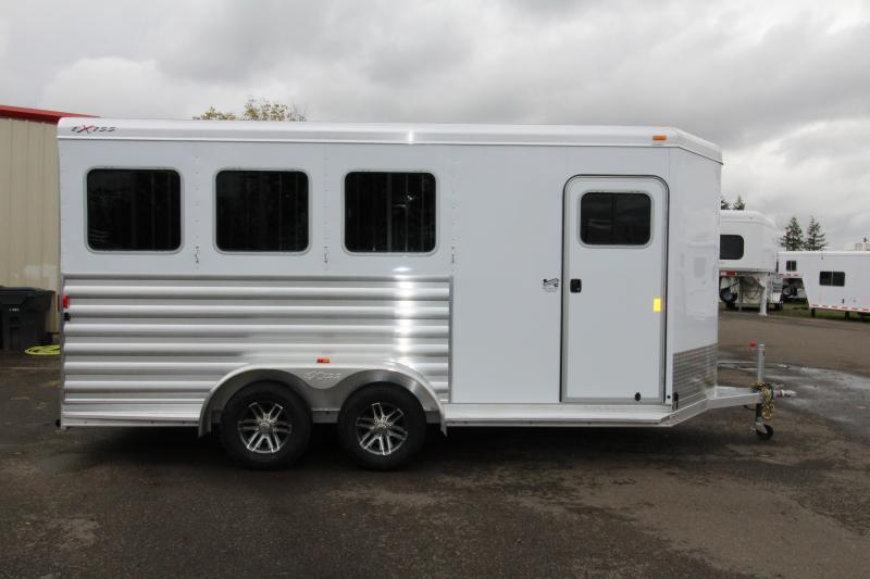 """2018 Exiss 730 - REDUCED $ - 3 Horse All Aluminum 7' 6"""" Tall - UPGRADED EASY CARE FLOORING 3 Horse Trailer - Swing Out Saddle Rack - Escape Door - Air Flow Dividers - Stud Wall"""