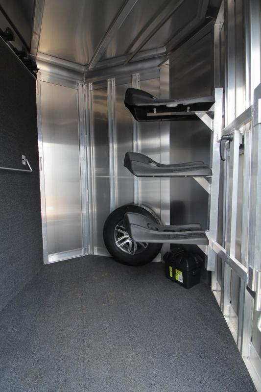 """2018 Exiss 730 - 3 Horse All Aluminum 7' 6"""" Tall - UPGRADED EASY CARE FLOORING 3 Horse Trailer - Swing Out Saddle Rack - Escape Door - Air Flow Dividers - Stud Wall"""