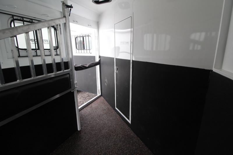 "2017 Trails West Sierra 8x13 -8' Short Wall- Slide Out - 7'6"" Tall - Hoof-Grip Easy Care Flooring - Mangers - Escape door 4 Horse LQ Trailer"