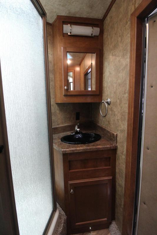 "2017 Exiss Endeavor 8416 - 7'8""Tall 8' Wide 16' Short Wall Slide Out Dinette Hydraulic Jack Electric Awning Lots of Upgrades 4 Horse Living Quarters Trailer PRICE REDUCED $3400"