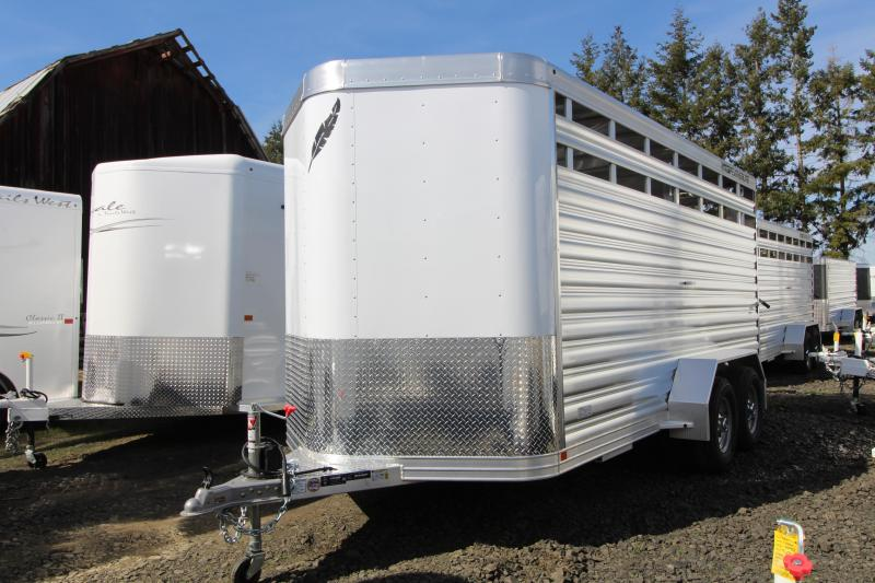 2019 Featherlite 8107 16 Bumper Pull Stock Trailer - Slider in Rear Gate - Solid Center Gate - 7' Tall