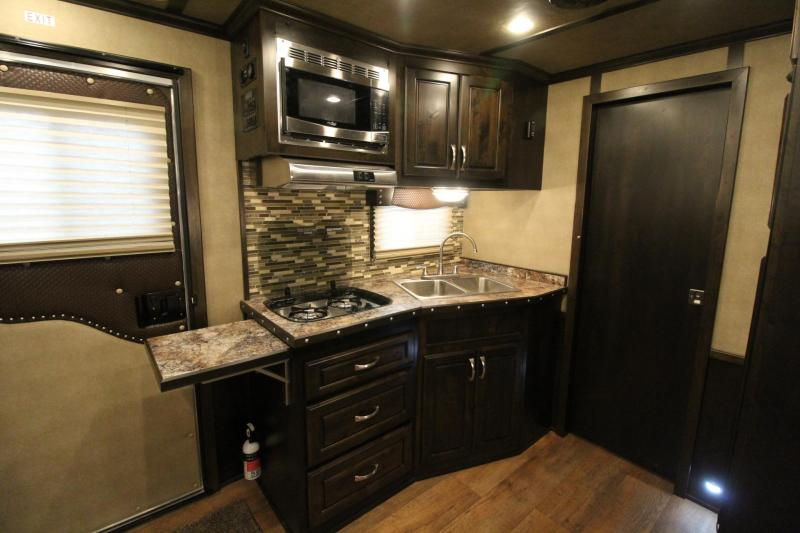 2019 Featherlite 9821 Liberty 11ft SW living quarters w/ slide 3 Horse Trailer Generator Ready Easy Care Flooring