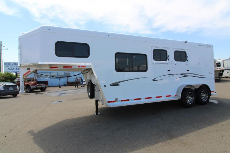 "2020 Trails West Classic 2 Horse 7'6"" Tall Trailer W/ Overnight Package - Furnace - Mattress - Pre Wired for AC Unit - Side Tack w/ Swing Out Saddle Rack"