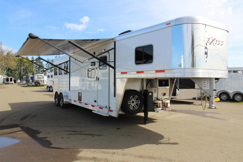 2019 Exiss 7310 - 3 Horse Trailer - 10' SW LQ - All Aluminum - Easy Care Flooring - Power Awning - Upgraded Real Wood Interior Features - TV - Dinette -PRICE REDUCED