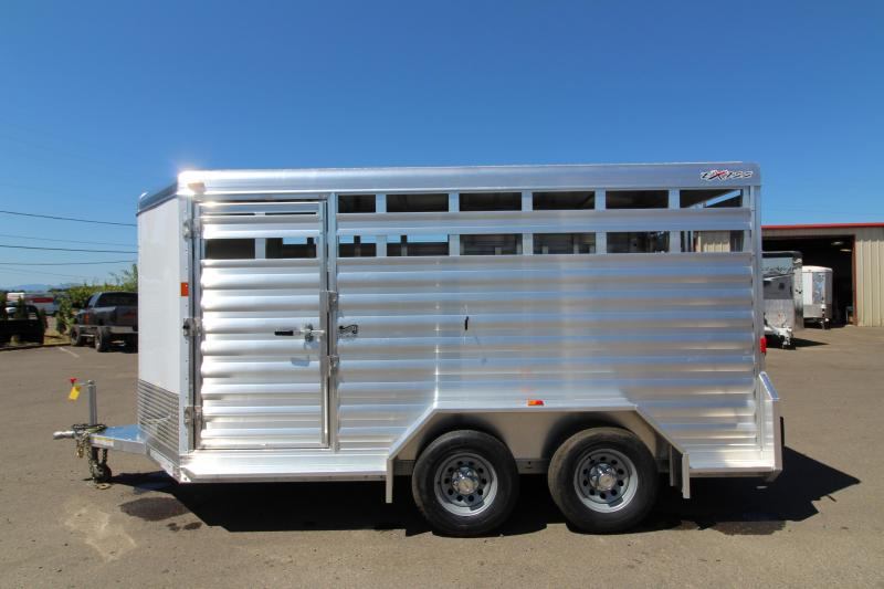 "2018 Exiss STK 713 Livestock Trailer - 13' Floor Length - 6'8"" Tall - All Aluminum - Solid Center Gate - Full Swinging Rear Gate with Slider"