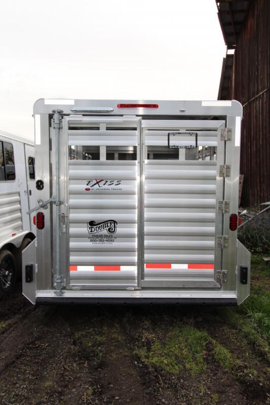 """2018 Exiss STK 713 Livestock Trailer - 13' Floor Length - 6'8"""" Tall - All Aluminum - Solid Center Gate - Full Swinging Rear Gate with Slider"""