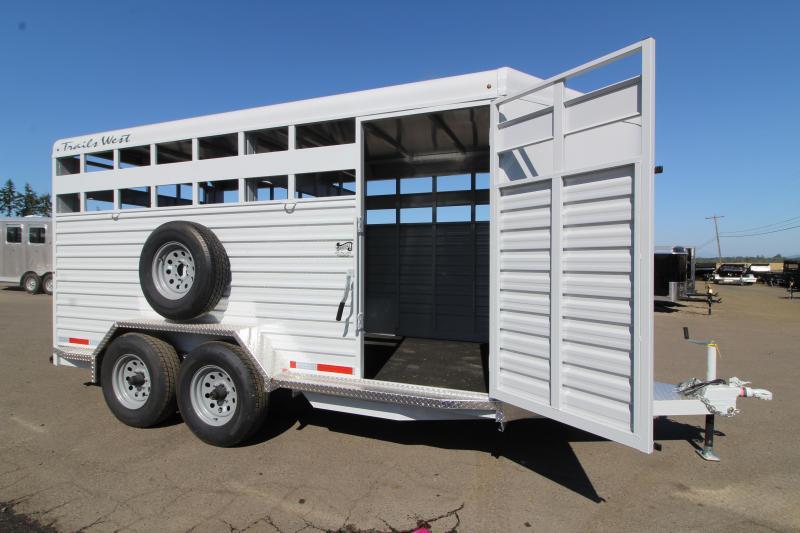 2020 Trails West Hotshot 17 ft Steel Livestock Bumper Pull Trailer - LED Flood Light