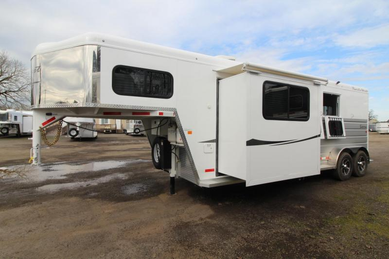 2018 Trails West Sierra 8x13 w/ Slide out - 2 Horse Trailer - Hoof Grip Flooring - Aluminum Skin