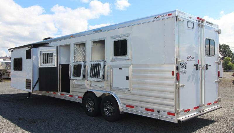 2019 Exiss Endeavor 8412 w/ Slide 4 Horse Living Quarters Trailer